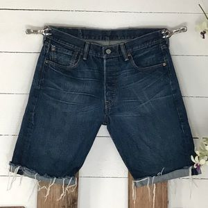 🌴 Levi's 501 Button Fly Raw Edge Denim Shorts